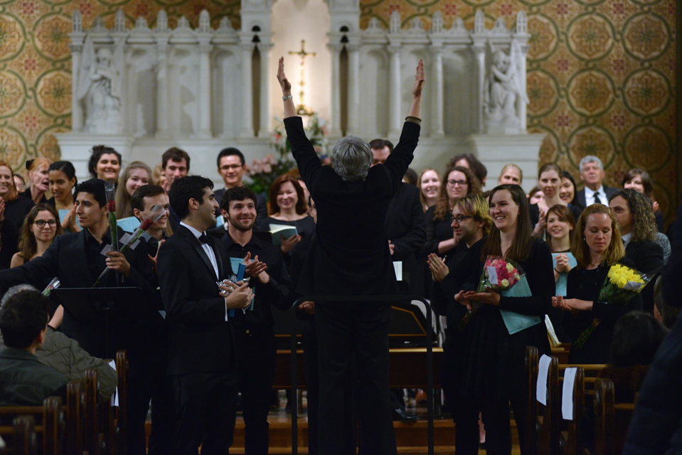 The Barnard-Columbia Chorus and Chamber Choir, pictured here in 2015, performed their annual Holiday Choral Concert.